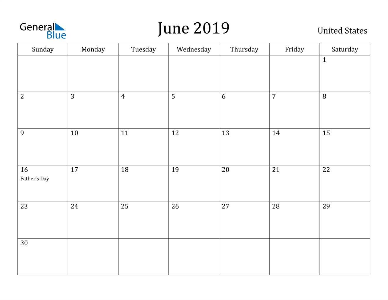 Image of June 2019 United States Calendar with Holidays Calendar