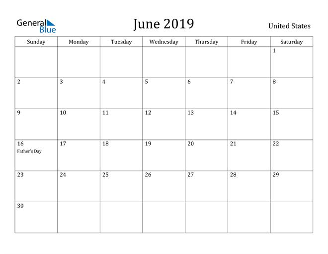 Image of June 2019 United States Calendar with Holidays Calendar
