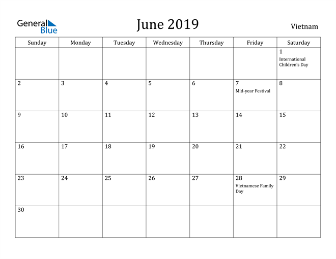 Image of June 2019 Vietnam Calendar with Holidays Calendar