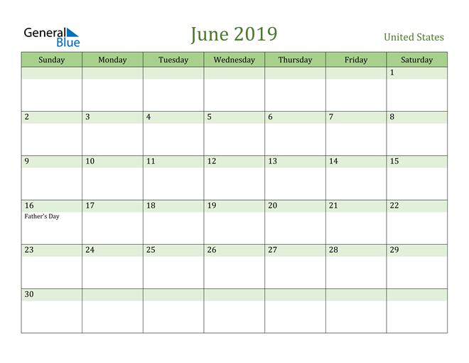 Image of June 2019 Cool and Relaxing Green Calendar Calendar