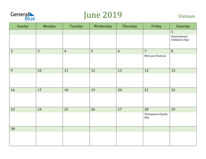 Image of June 2019 Cool and Relaxing Green Calendar Calendar