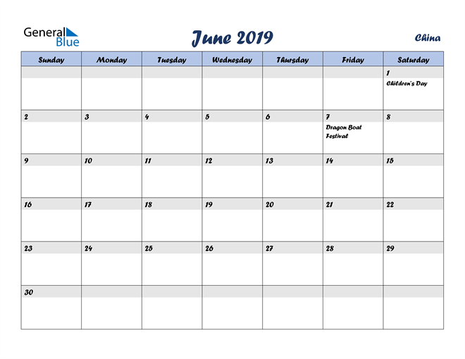 Image of June 2019 Italicized and Cool Blue, A Fun Calendar in PDF, Word and Excel Calendar