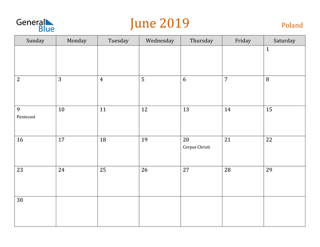 Image of June 2019 Contemporary Orange PDF, Word and Excel Calendar Calendar