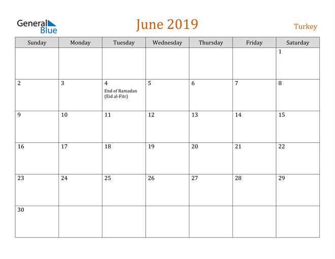 Image of June 2019 Contemporary Orange PDF, Word and Excel Calendar Calendar