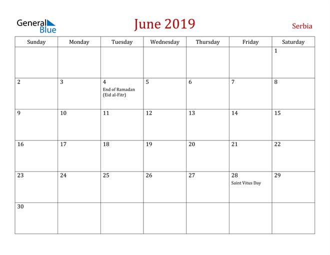 Image of June 2019 Dark and Red Professional Office Calendar Calendar