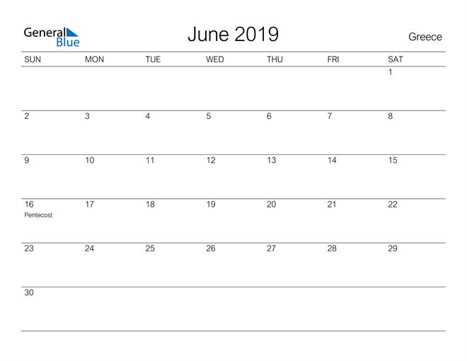Image of June 2019 A Streamlined Design, The Perfect Printable Calendar. Calendar