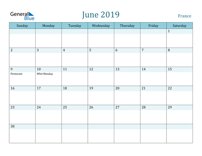 Image of June 2019 Colorful Turquoise Calendar in PDF, Word and Excel Calendar