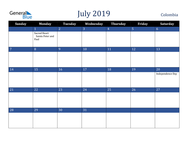 Image of July 2019 Stylish Dark Blue Calendar in PDF, Word and Excel Calendar