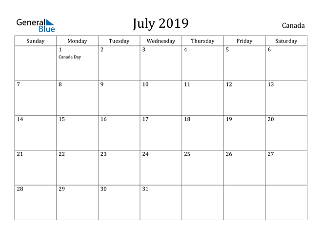 Image of July 2019 Canada Calendar with Holidays Calendar