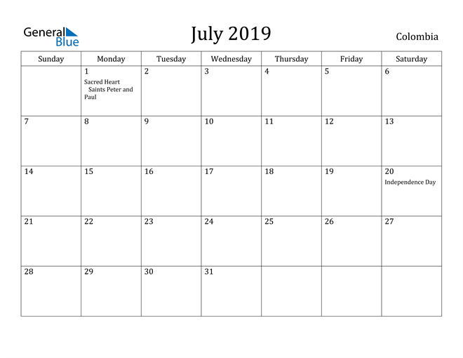 Image of July 2019 Colombia Calendar with Holidays Calendar