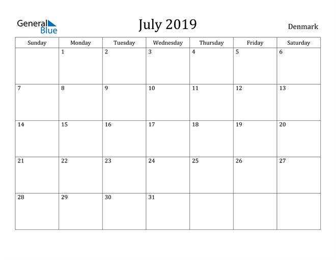 Image of July 2019 Denmark Calendar with Holidays Calendar