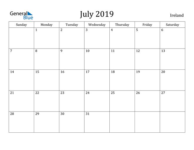 Image of July 2019 Ireland Calendar with Holidays Calendar