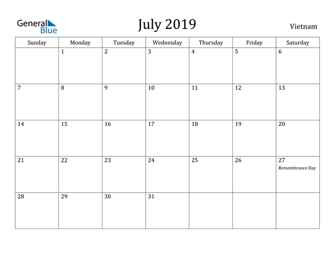 Image of July 2019 Vietnam Calendar with Holidays Calendar