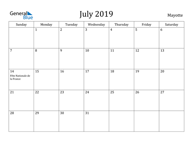 Image of July 2019 Mayotte Calendar with Holidays Calendar