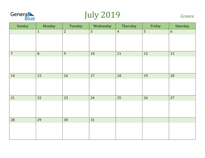 Image of July 2019 Cool and Relaxing Green Calendar Calendar