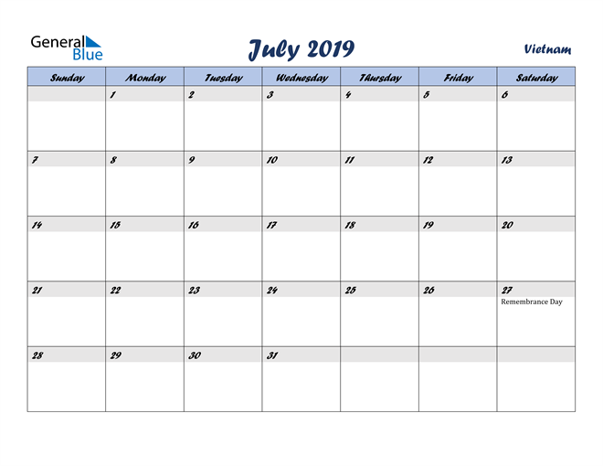 Image of July 2019 Italicized and Cool Blue, A Fun Calendar in PDF, Word and Excel Calendar
