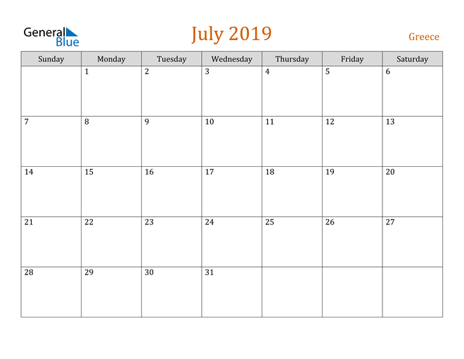 Image of July 2019 Contemporary Orange PDF, Word and Excel Calendar Calendar