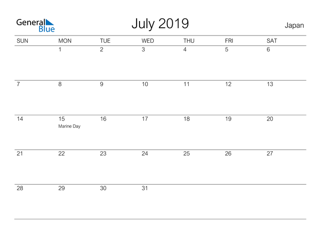 Image of July 2019 A Streamlined Design, The Perfect Printable Calendar. Calendar