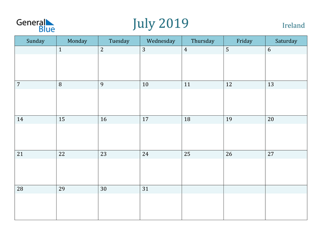Image of July 2019 Colorful Turquoise Calendar in PDF, Word and Excel Calendar