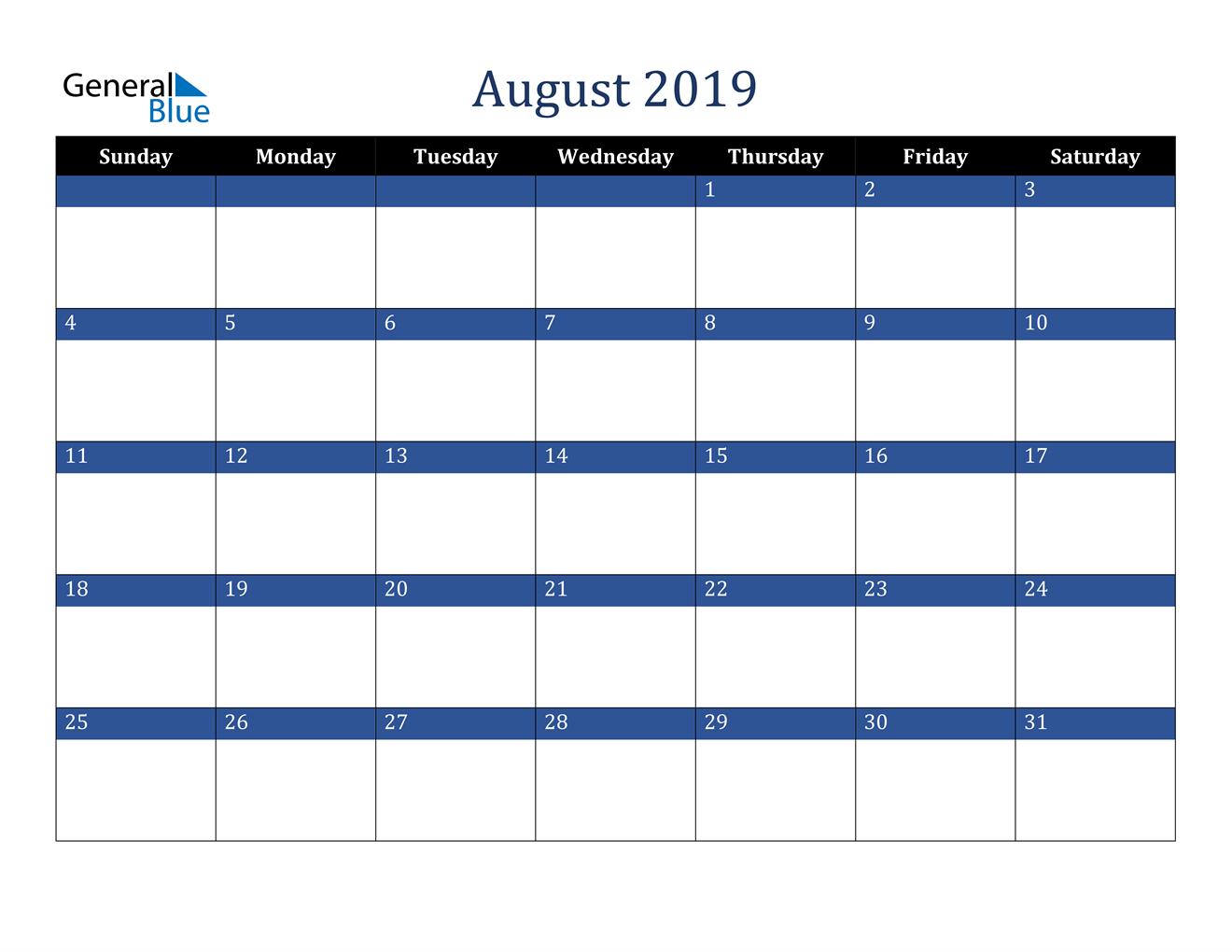 Image of August 2019 Stylish Dark Blue Calendar in PDF, Word and Excel Calendar