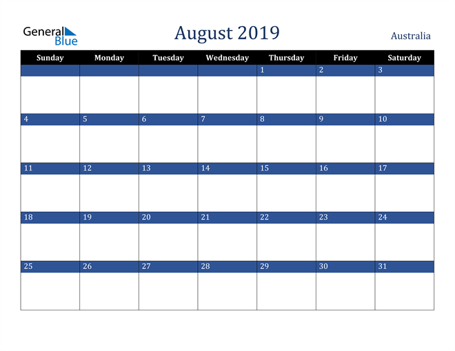 Image of August 2019 Stylish Dark Blue Calendar in PDF, Word and Excel Calendar