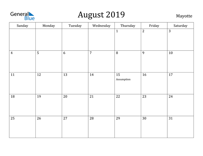 Image of August 2019 Mayotte Calendar with Holidays Calendar