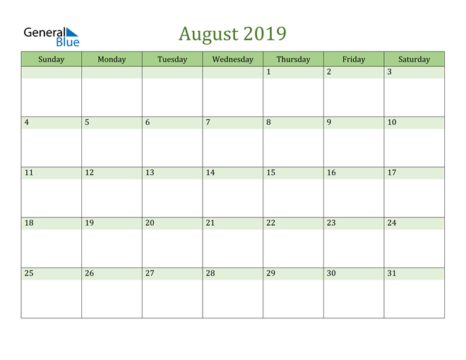 Image of August 2019 Cool and Relaxing Green Calendar Calendar