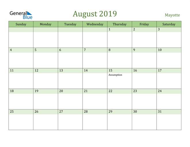Image of August 2019 Cool and Relaxing Green Calendar Calendar