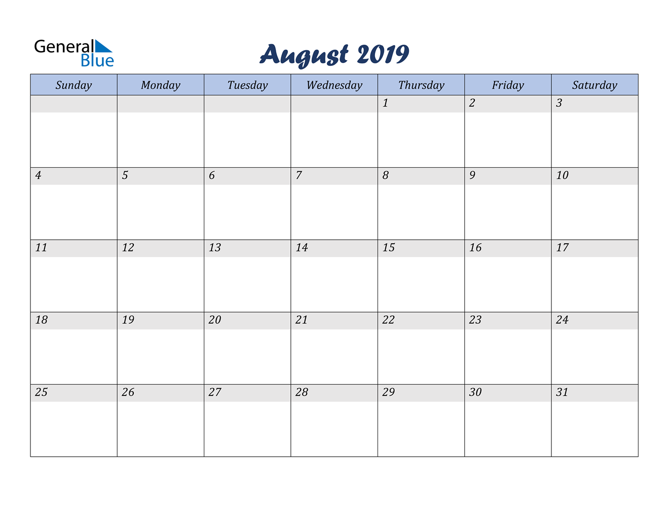 Image of August 2019 Italicized and Cool Blue, A Fun Calendar in PDF, Word and Excel Calendar