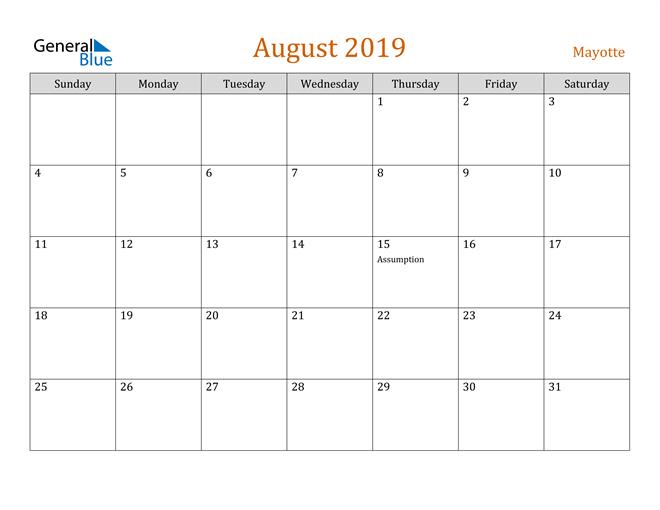 Image of August 2019 Contemporary Orange PDF, Word and Excel Calendar Calendar