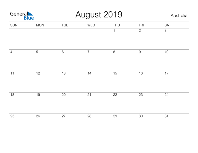 Image of August 2019 A Streamlined Design, The Perfect Printable Calendar. Calendar
