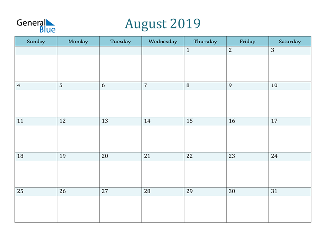 Image of August 2019 Colorful Turquoise Calendar in PDF, Word and Excel Calendar
