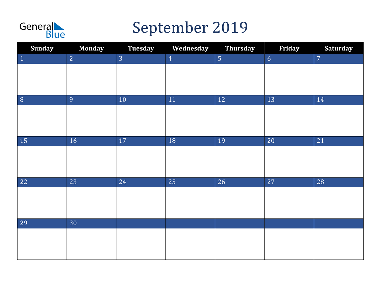 Image of September 2019 Stylish Dark Blue Calendar in PDF, Word and Excel Calendar