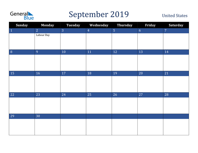 Image of September 2019 Stylish Dark Blue Calendar in PDF, Word and Excel Calendar