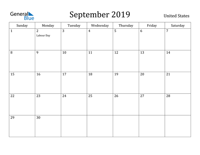 Image of September 2019 United States Calendar with Holidays Calendar
