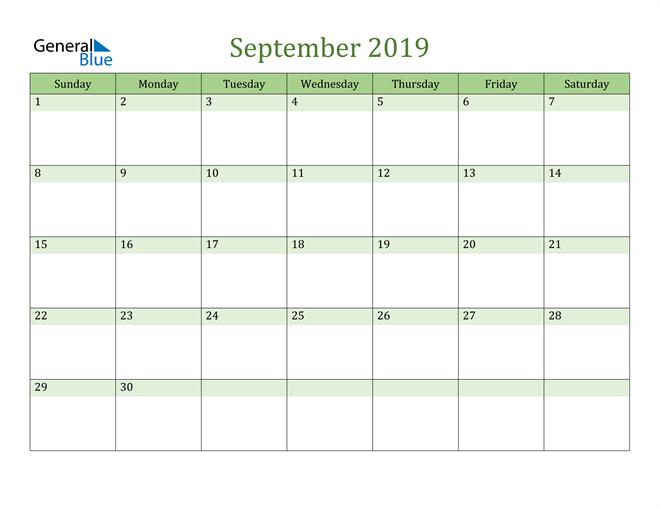 Image of September 2019 Cool and Relaxing Green Calendar Calendar