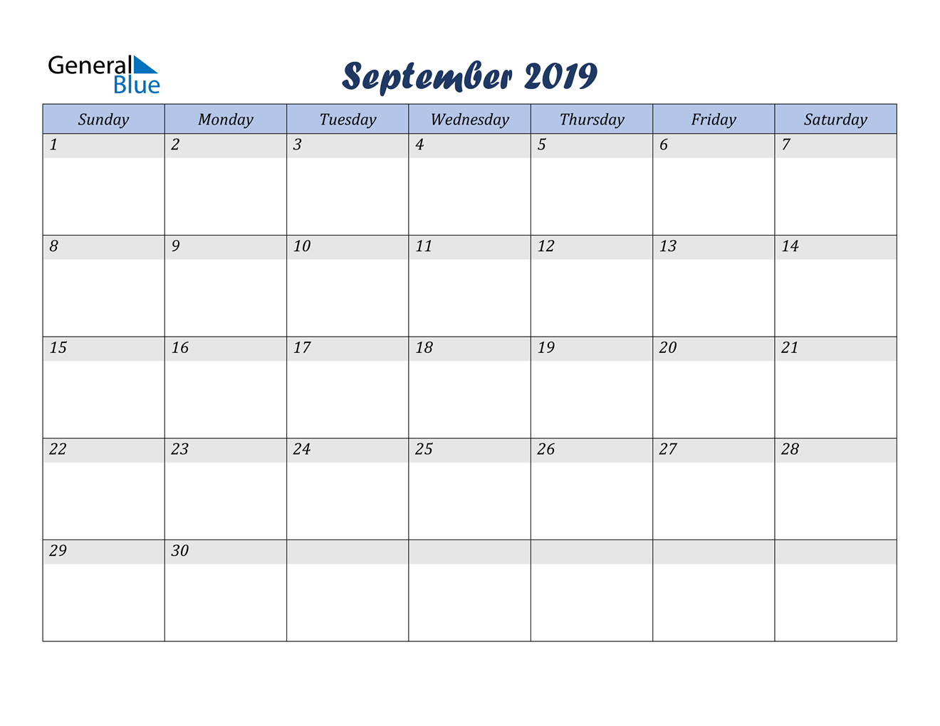 Image of September 2019 Italicized and Cool Blue, A Fun Calendar in PDF, Word and Excel Calendar