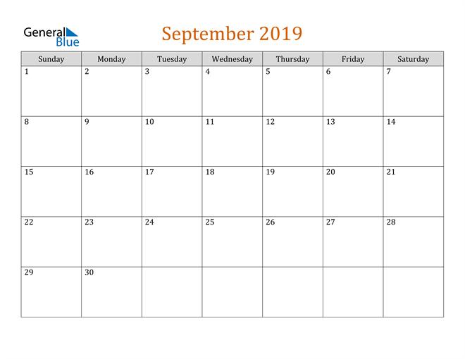 Image of September 2019 Contemporary Orange PDF, Word and Excel Calendar Calendar