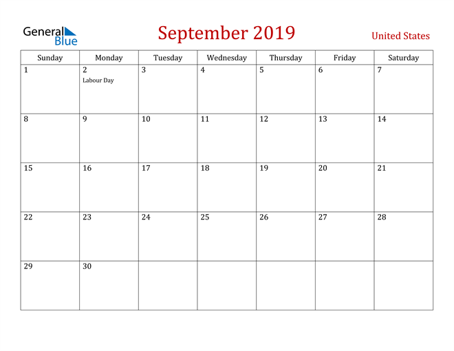 Image of September 2019 Dark and Red Professional Office Calendar Calendar