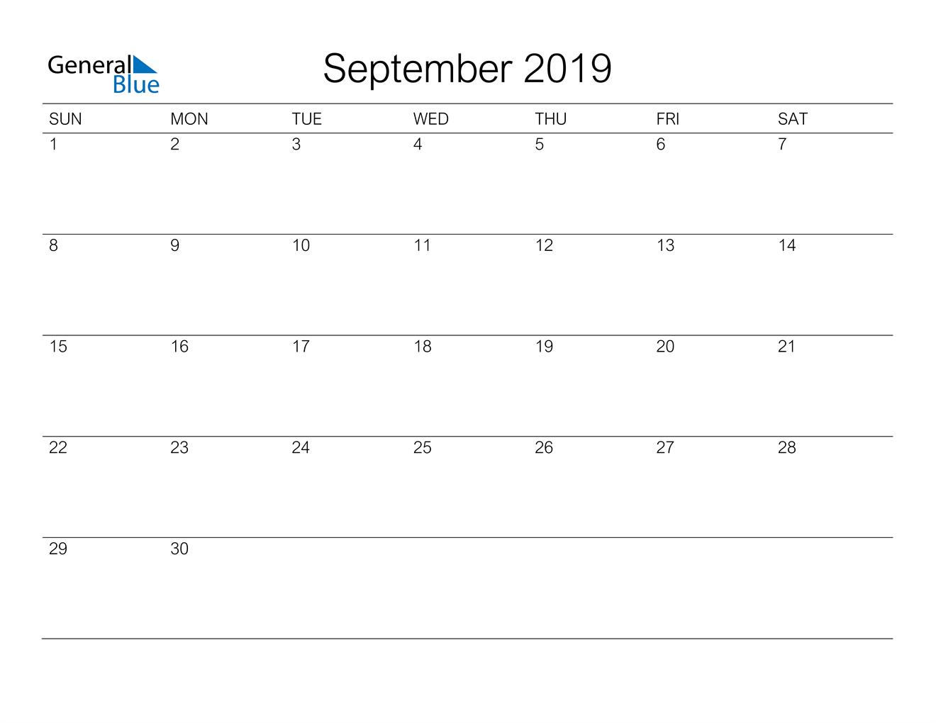 Image of September 2019 A Streamlined Design, The Perfect Printable Calendar. Calendar