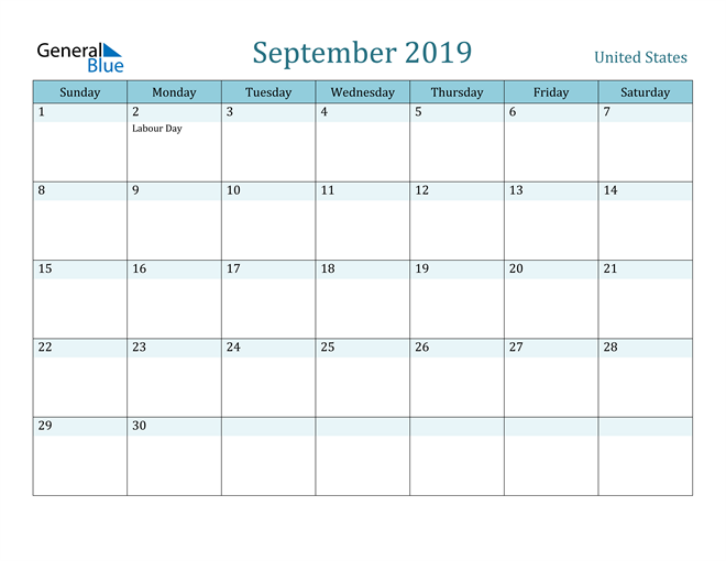 Image of September 2019 Colorful Turquoise Calendar in PDF, Word and Excel Calendar