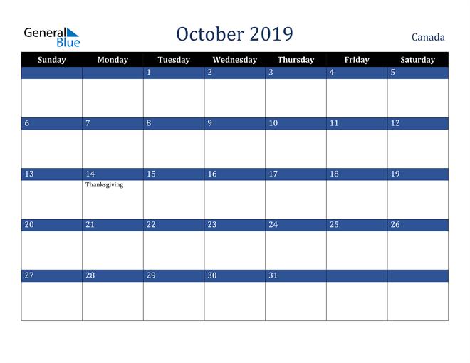 Image of October 2019 Stylish Dark Blue Calendar in PDF, Word and Excel Calendar