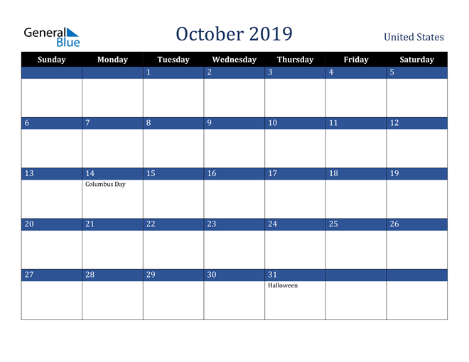 Image of October 2019 Stylish Dark Blue Calendar in PDF, Word and Excel Calendar