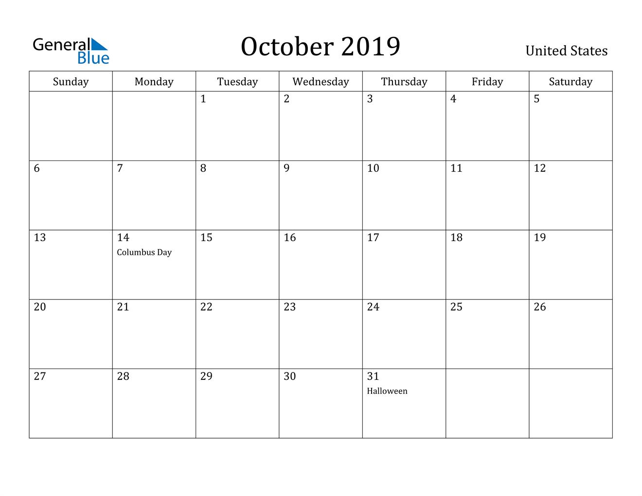 Image of October 2019 United States Calendar with Holidays Calendar