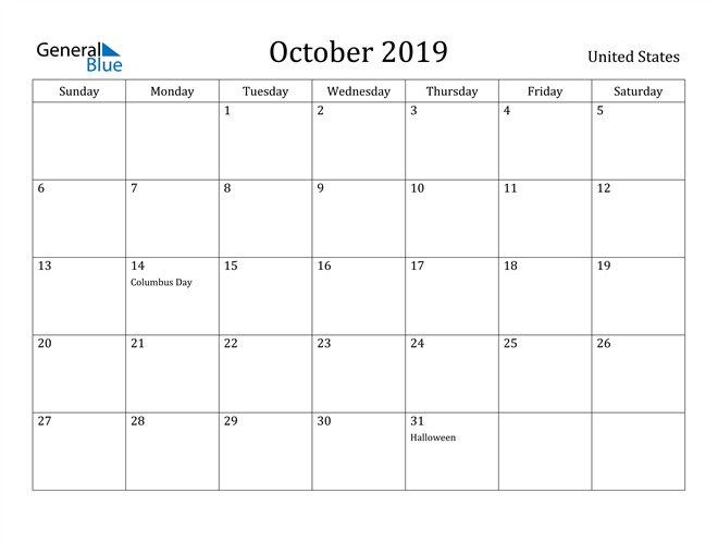 Image of October 2019 United States Calendar with Holidays Calendar