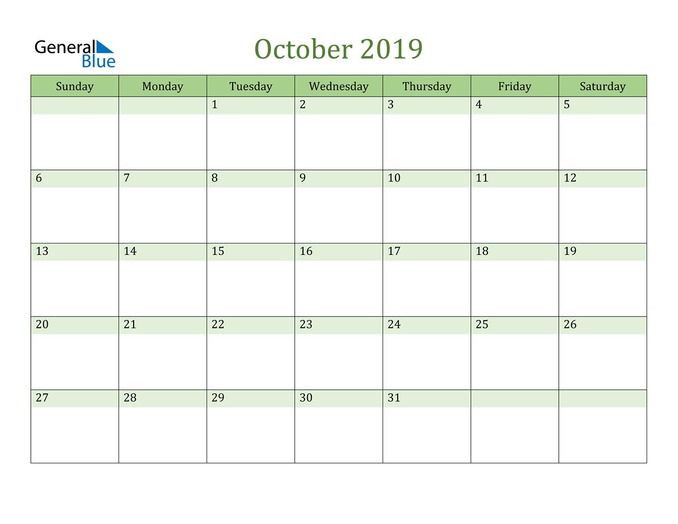 Image of October 2019 Cool and Relaxing Green Calendar Calendar
