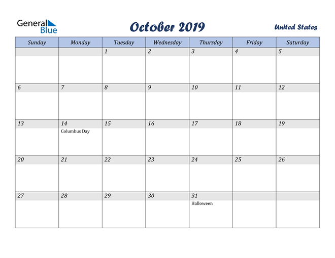 Image of October 2019 Italicized and Cool Blue, A Fun Calendar in PDF, Word and Excel Calendar