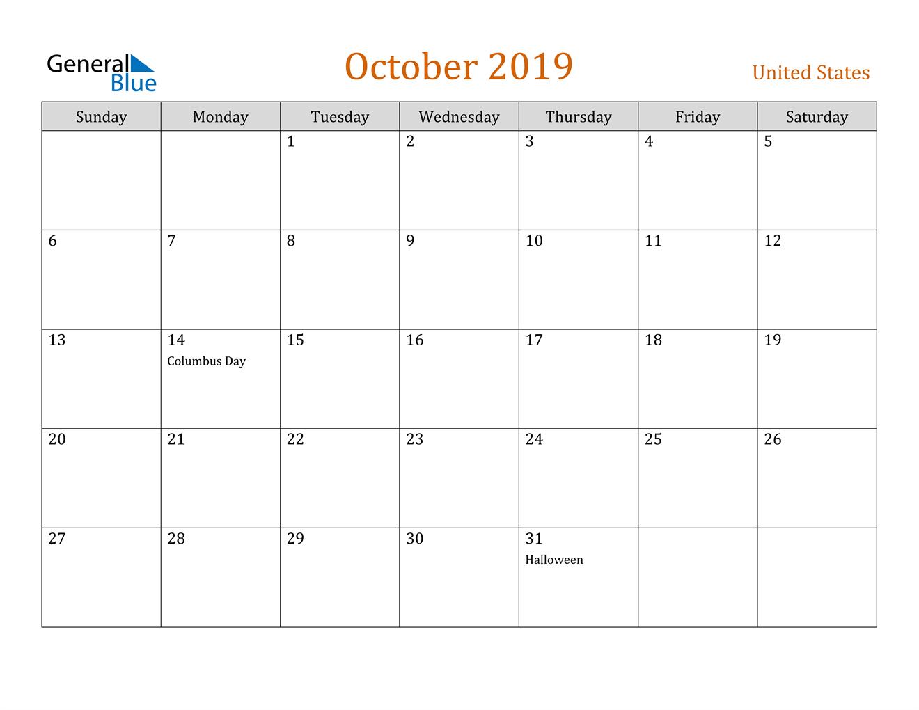 Image of October 2019 Contemporary Orange PDF, Word and Excel Calendar Calendar