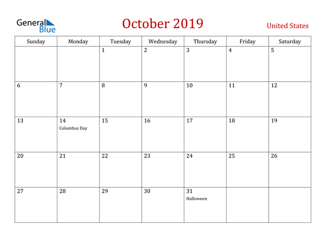 Image of October 2019 Dark and Red Professional Office Calendar Calendar