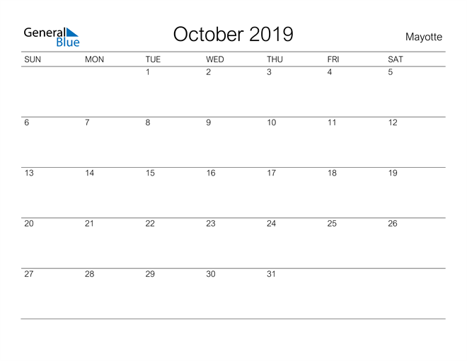 Image of October 2019 A Streamlined Design, The Perfect Printable Calendar. Calendar
